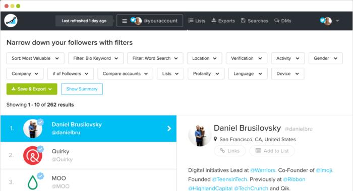 filtros de seguidores