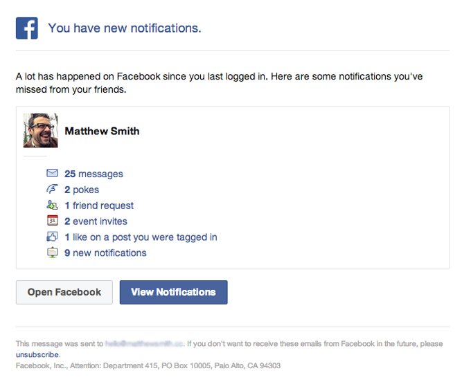 Notificaiton and Activity Update Email from Facebook