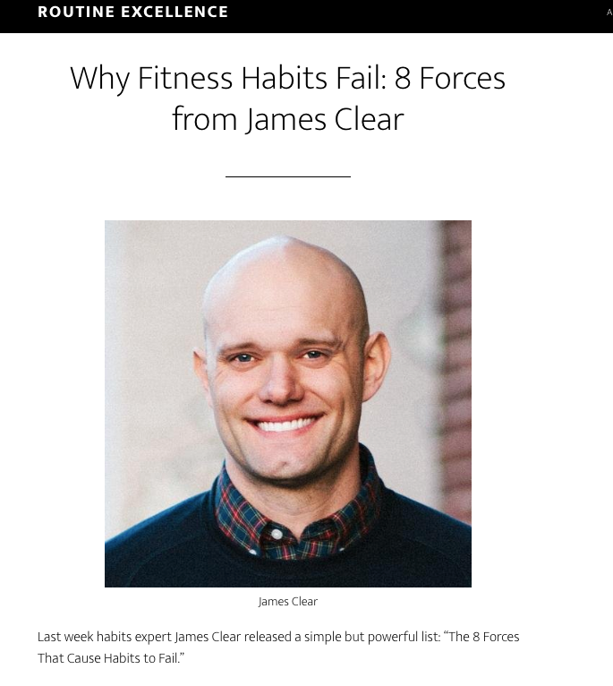 Why Fitness Habits Fail 8 Forces from James Clear Routine Excellence