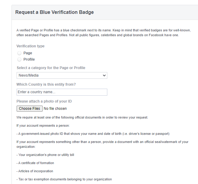 get verified on social media facebook requirements screenshot