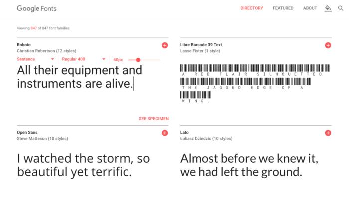 find a font google fonts
