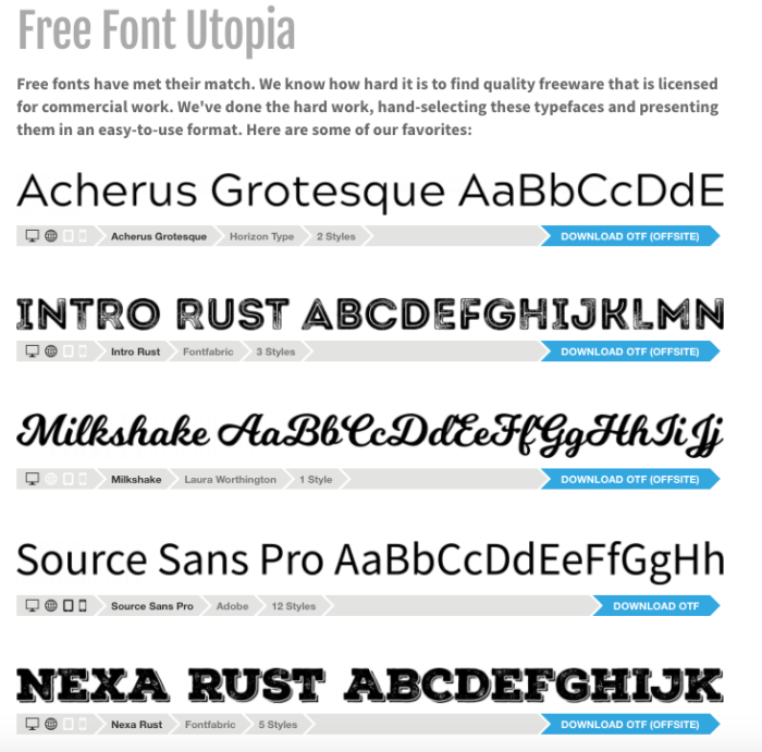find a font free font utopia