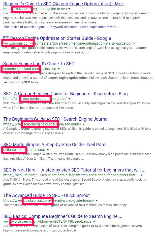 backlinks em resultados de busca no google