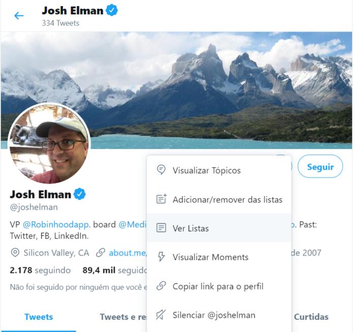 perfil de josh elman no twitter