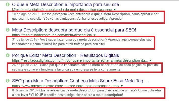 descrições dos resultados de pesquisa que aparecem no google