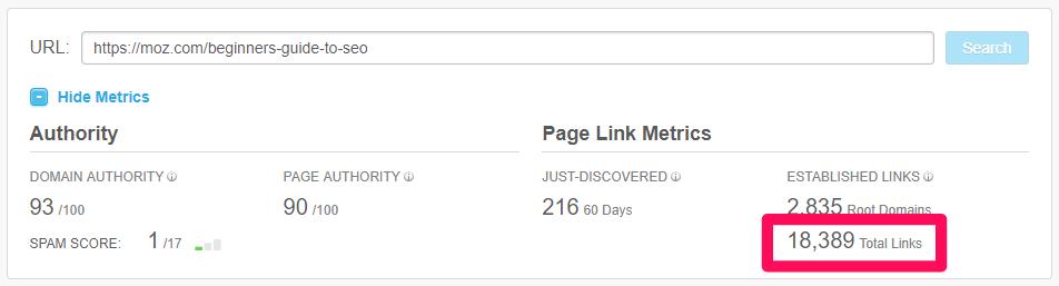 métricas de backlinks em resultados do google