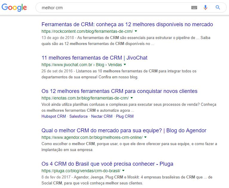 página de resultados para ferramentas de CRM