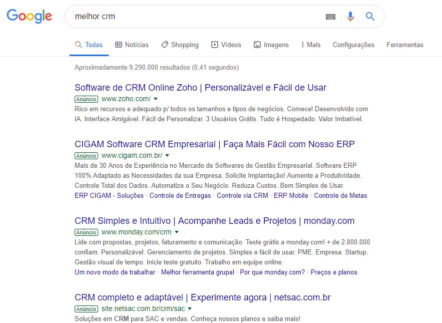 primeira página de resultados de pesquisa no google pelo termo melhor CRM