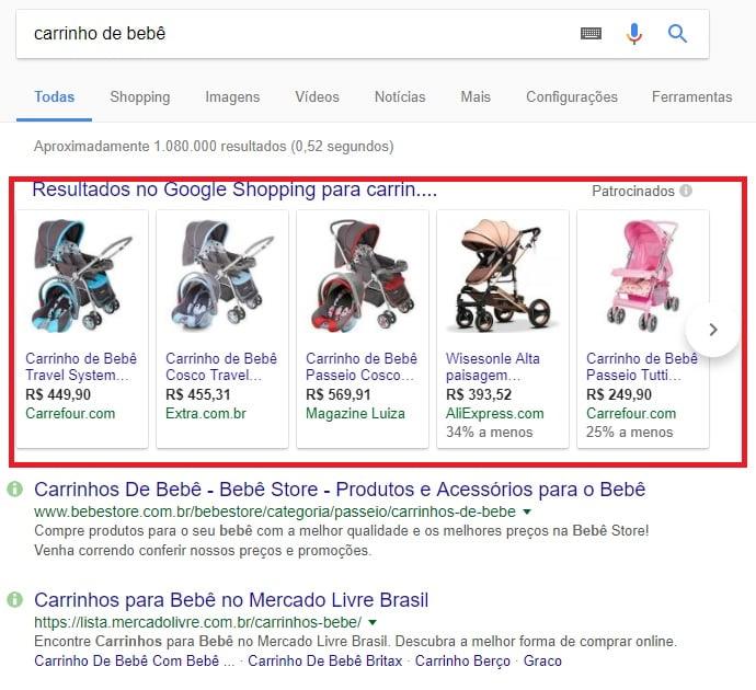 resultados na área de compras da pesquisa do google para carrinhos de bebê