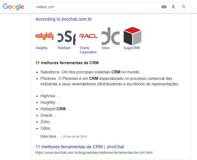 resultados orgânicos da pesquisa de melhor CRM no google