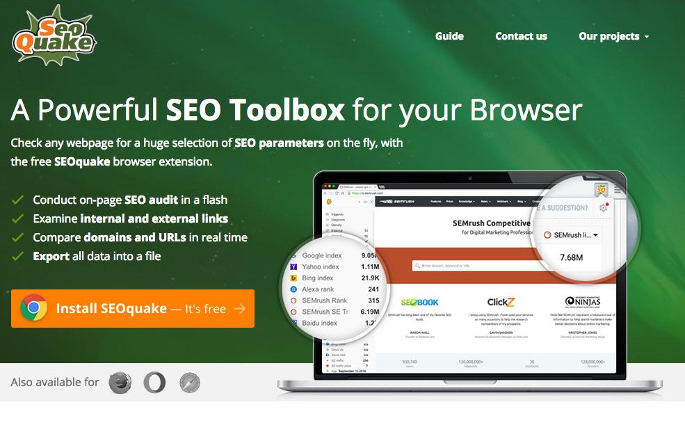 Une puissante boîte à outils SEO pour votre navigateur SEOquake