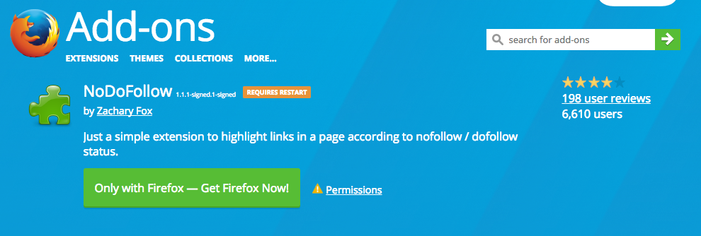 NoDoFollow Add ons for Firefox
