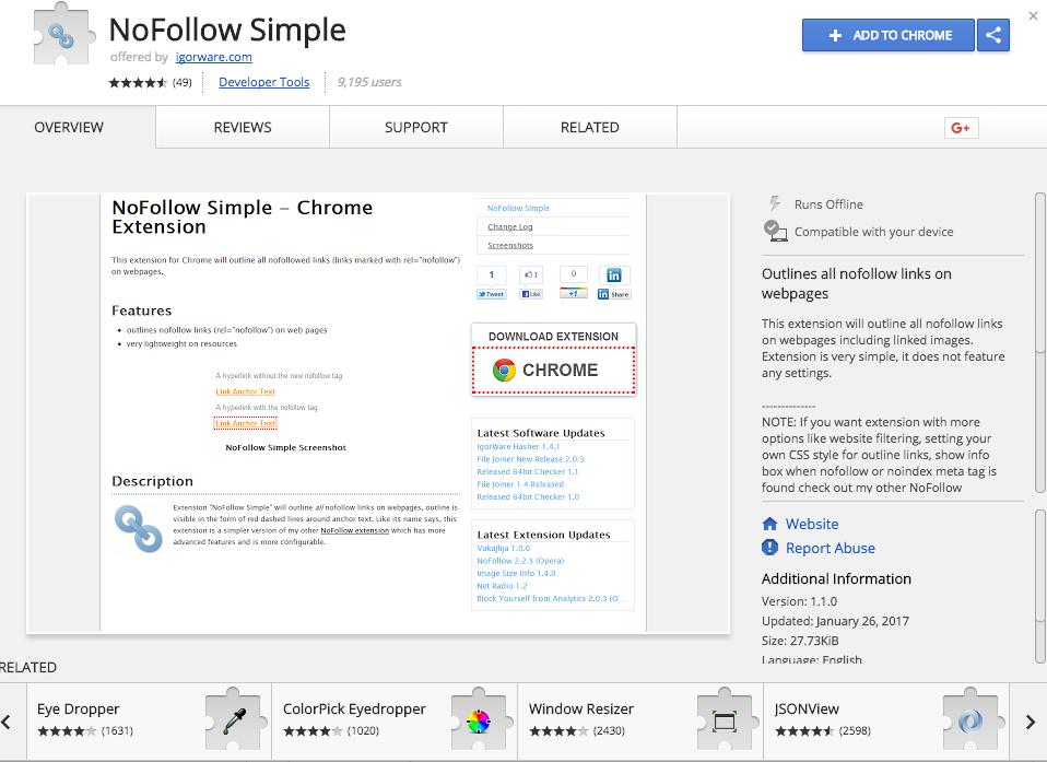 NoFollow Simple Chrome Web Store