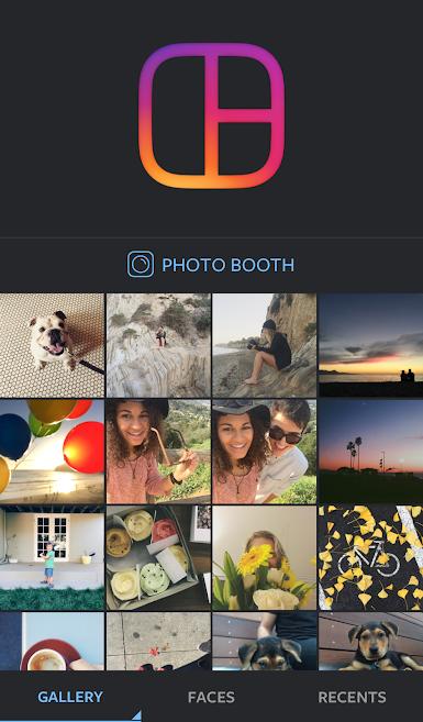 aplicativo de fotos Layout do Instagram