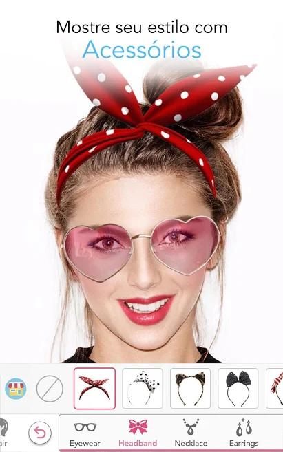 aplicativo de fotos para maquiagem e acessórios YouCam MakeUp