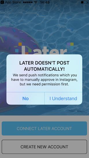 aviso do aplicativo mobile later