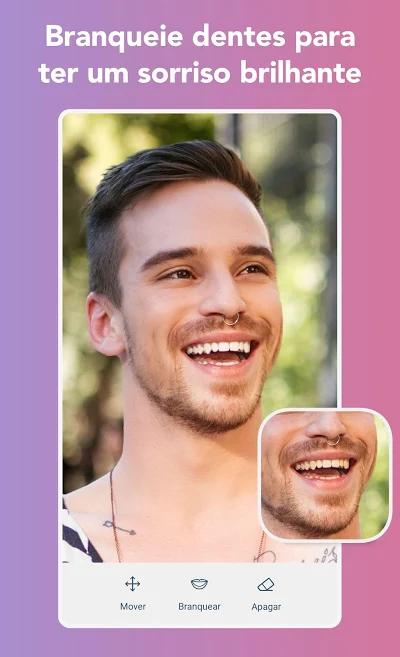 ferramenta de clareameto de dentes no aplicativo de fotos Faceune