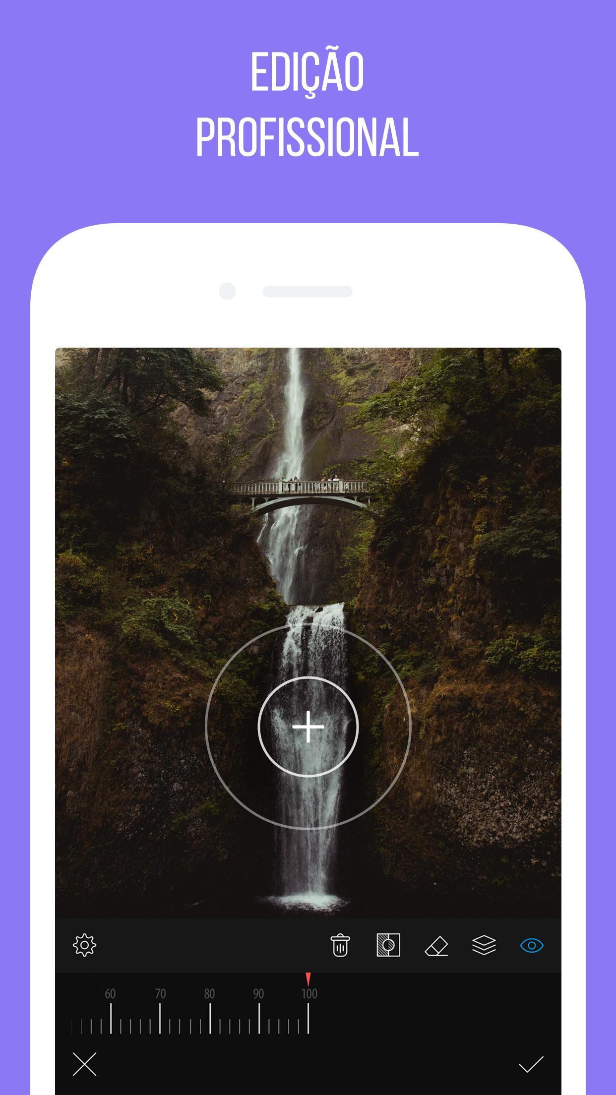 ferramenta de foco no aplicativo de fotosCamly