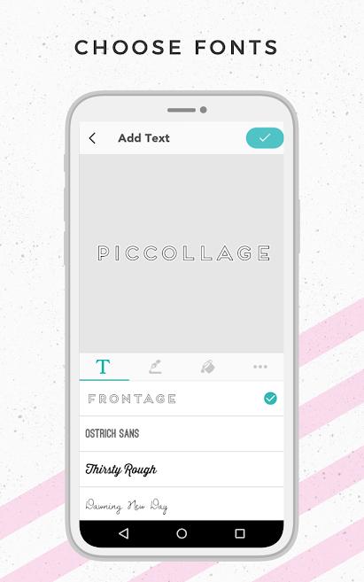 ferramenta de textos no aplicativo de fotos Pic Collage