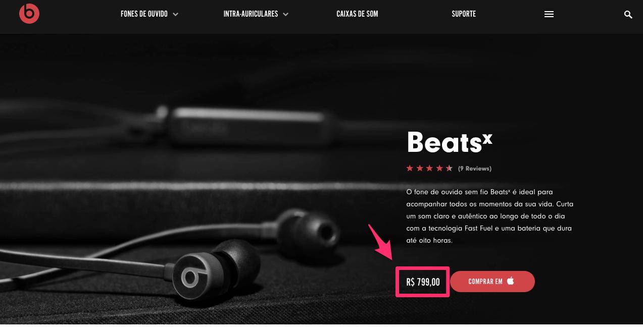 Fone de ouvido intra auricular BeatsX Wireless Beats by Dre
