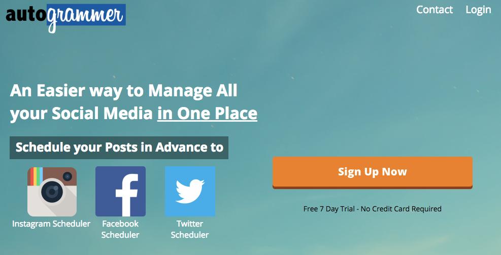 página inicial de site para programar post autogrammer