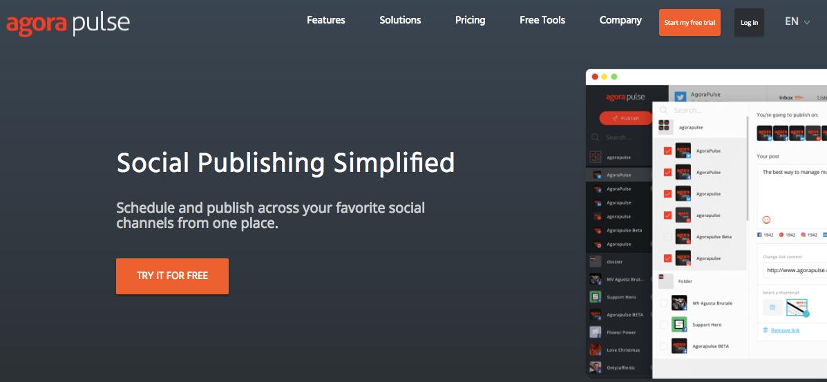 página inicial do aplicativo para programação de postagem agorapulse