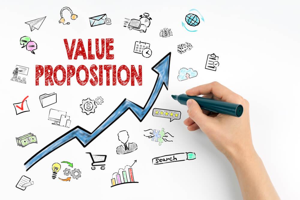 símbolos e ilusrações sobre a proposta de valor