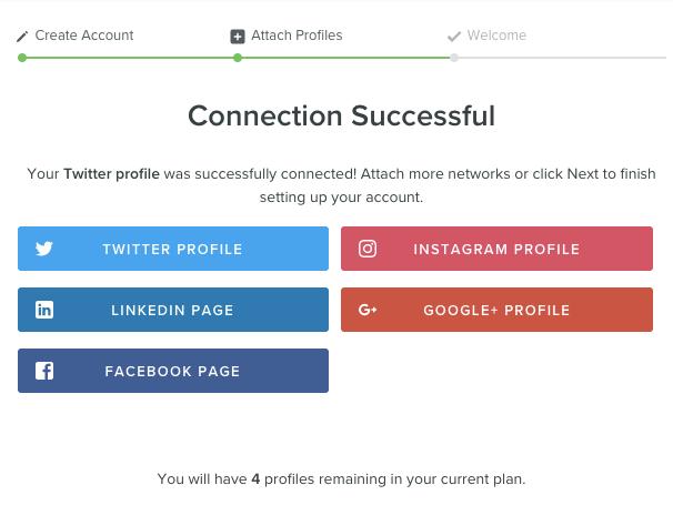 sucesso na conexão de conta no aplicativo sprout social
