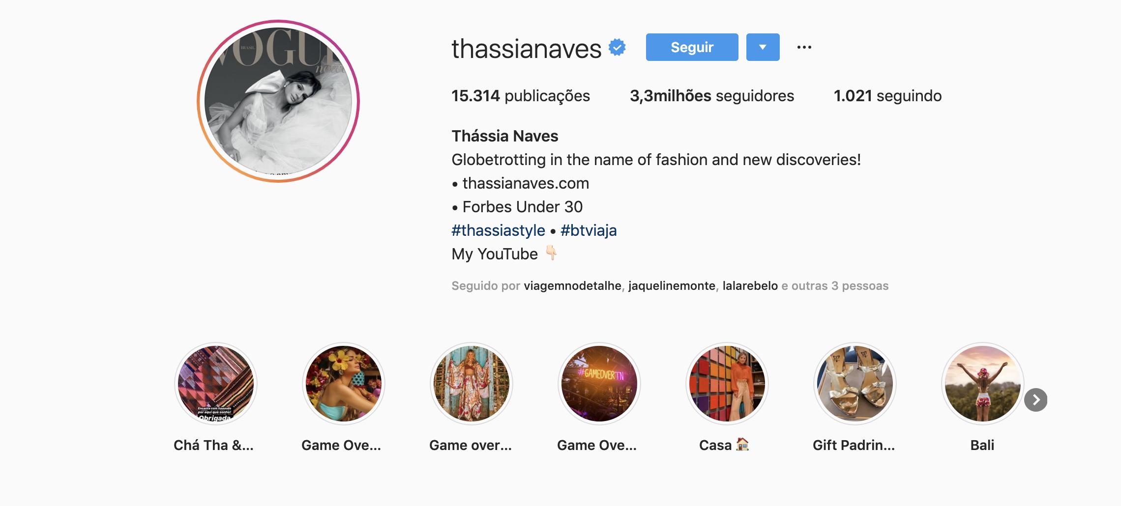 thassia naves como exemplo de blogueira de sucesso