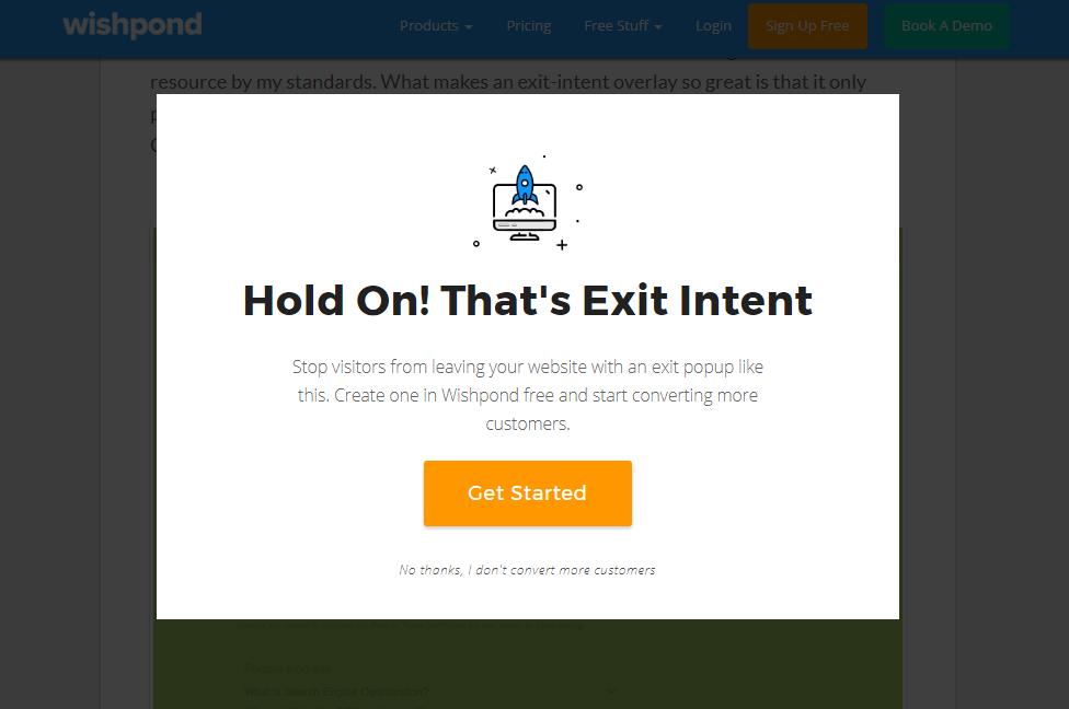 wishpond exit intent