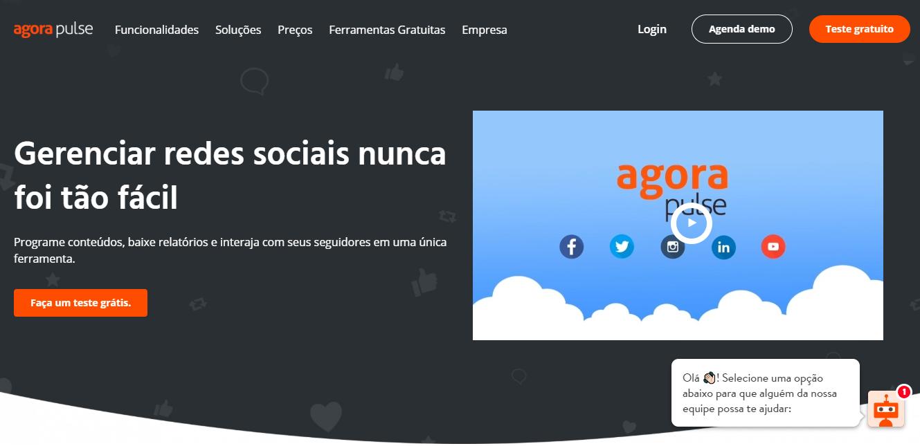 página inicial da ferramenta de monitoramento de redes sociais AgoraPulse