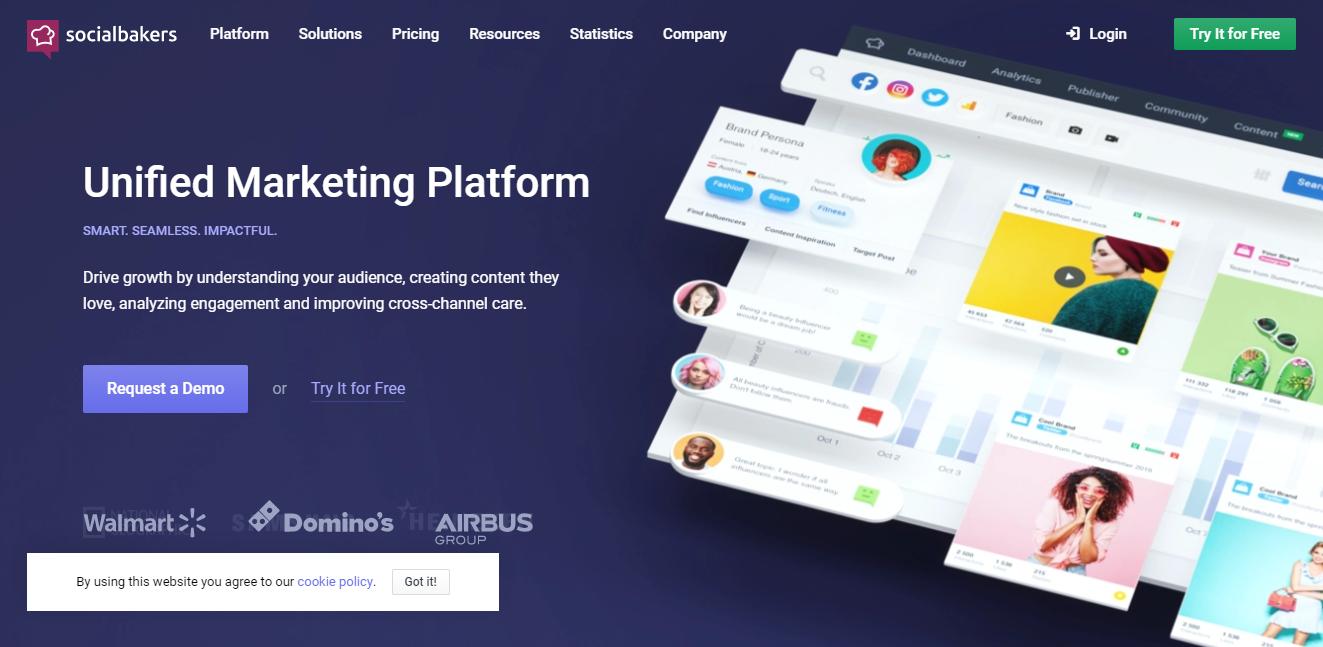 página inicial da ferramenta para monitoramento de redes sociais SocialBakers