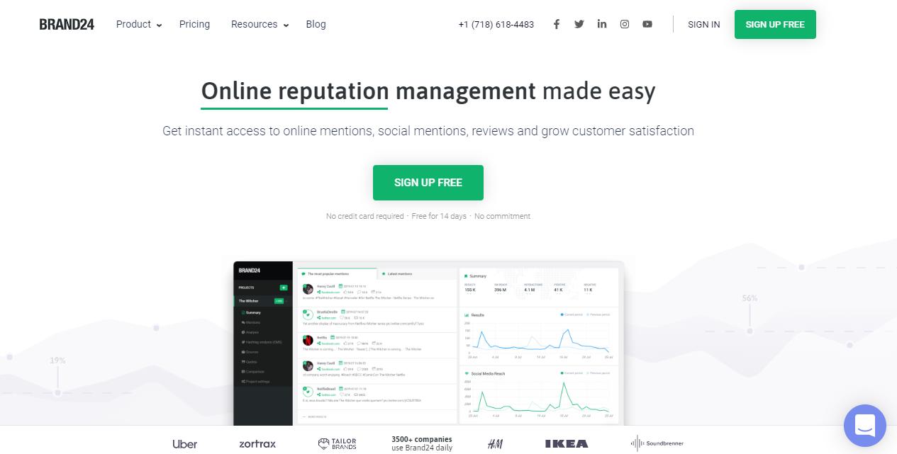 página inicial da ferramenta para monitoramento de redes sociais Brand 24