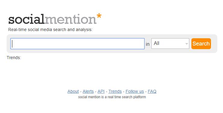 página inicial da ferramenta para monitoramento de redes sociais social mention