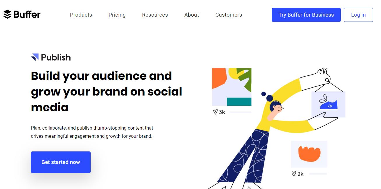 página inicial da ferramenta para monitoramento de redes sociais Buffer