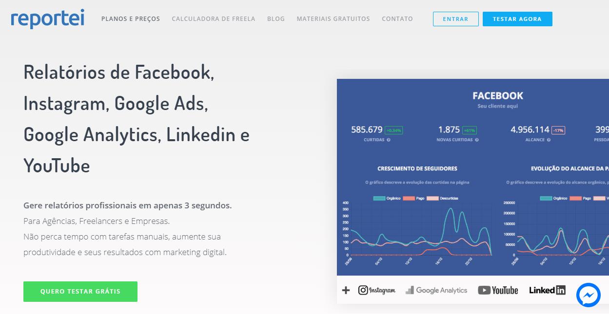 página inicial do sie da ferramenta para monitoramento de redes sociais Reportei