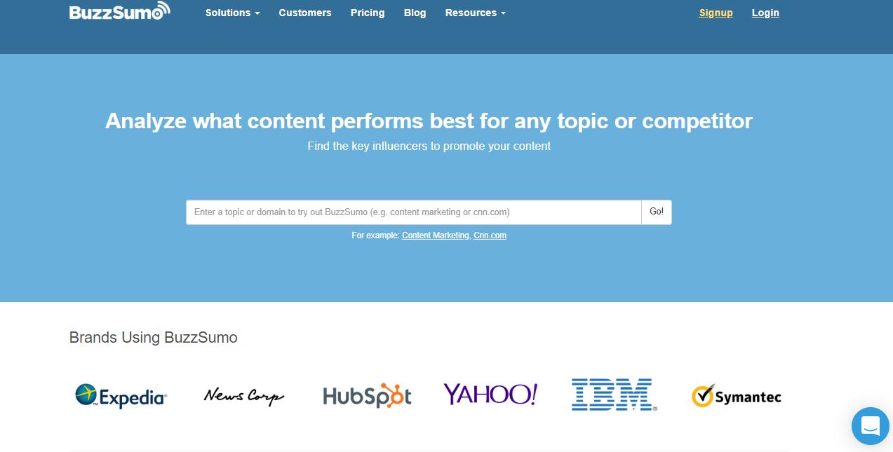 página inicial do site da ferramenta de monitoramento de redes sociais BuzzSumo