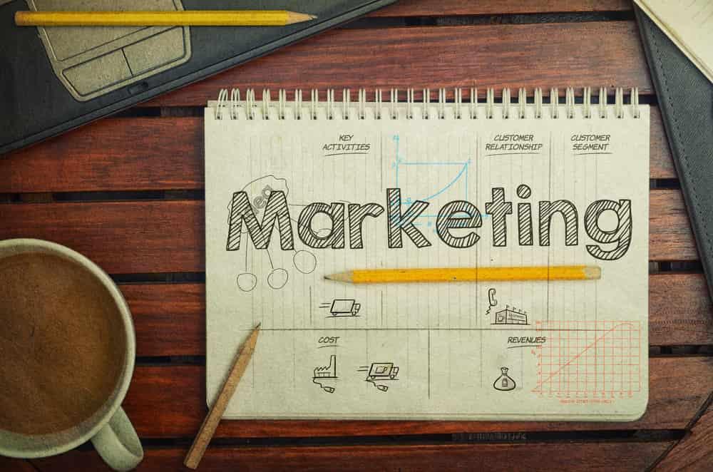 bloco de notas sob mesa de madeira com a palavra marketing em tela, diversos lapis e xicara de café ao seu redor