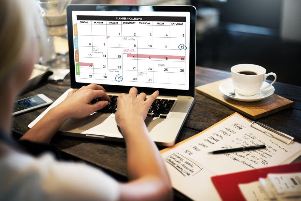 calendário de programção de conteúdo