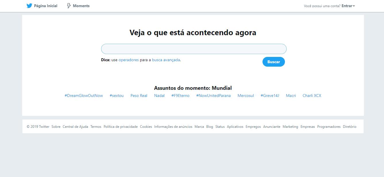 captura de tela na pagina de busca do site twitter