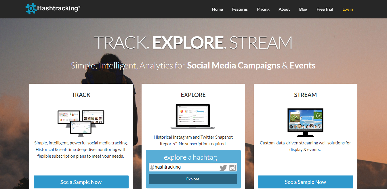 captura de tela no site hashtracking