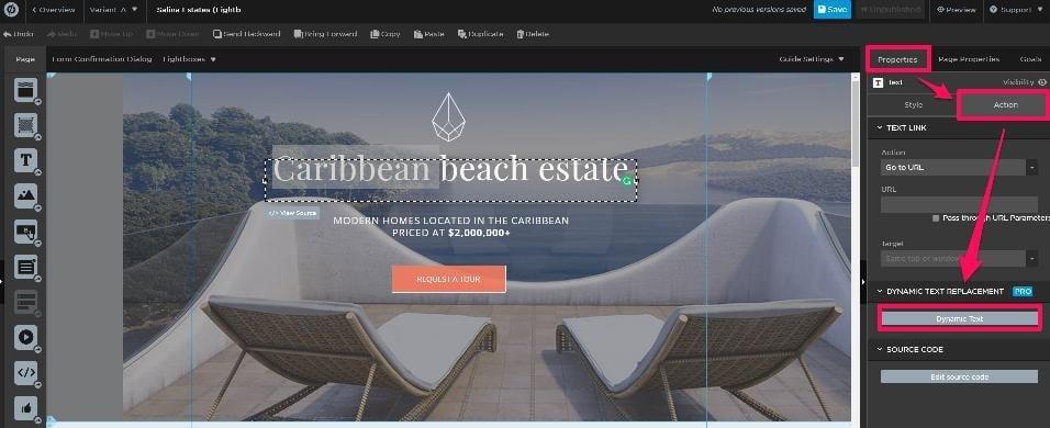 caribbean beach estate dynamic text