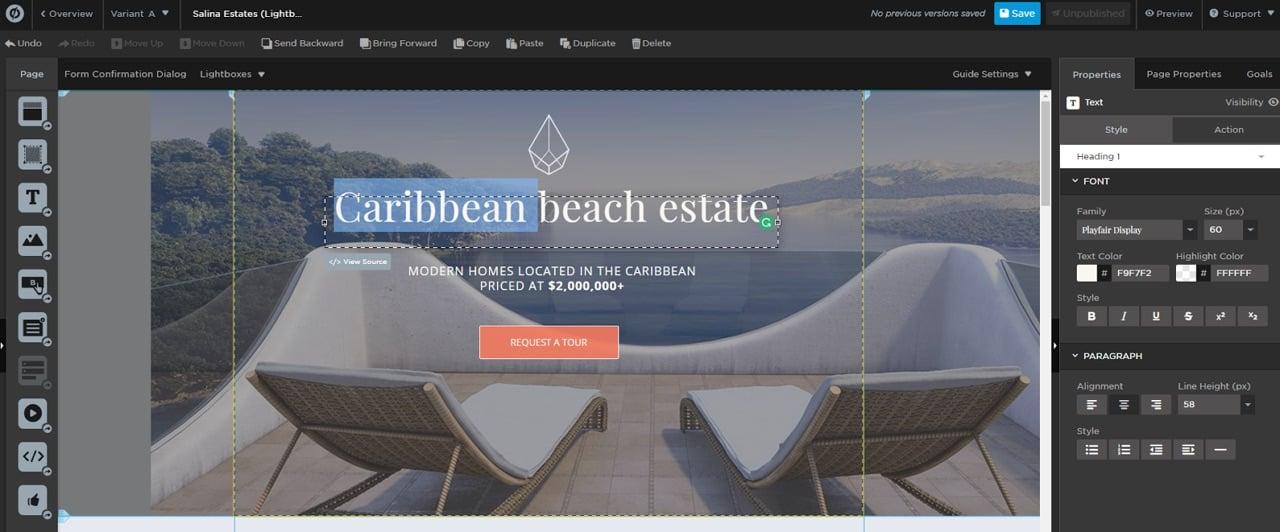 Caribbean beach estate landing page