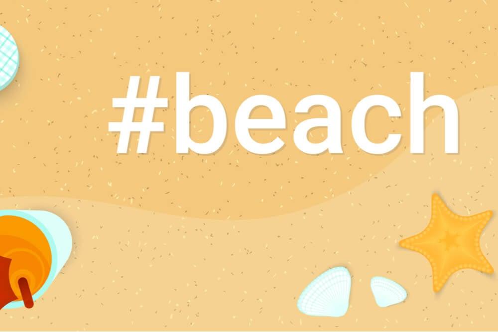 ilustraçao de areia da praia com hashtag da palavra beach