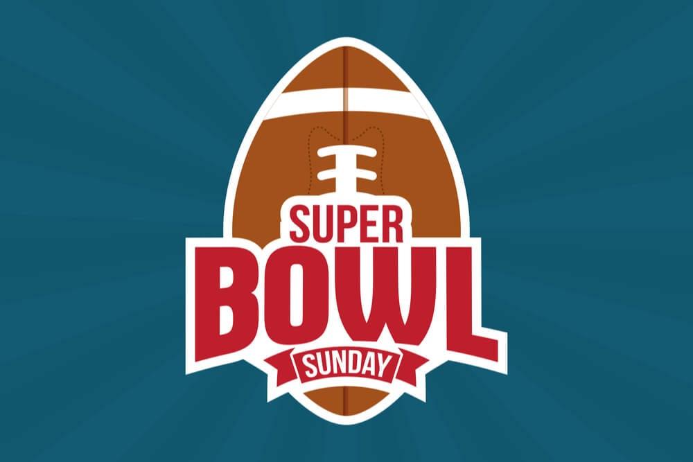 ilustraçao de bola de futebol americano com a frase super bowl sunday em frente