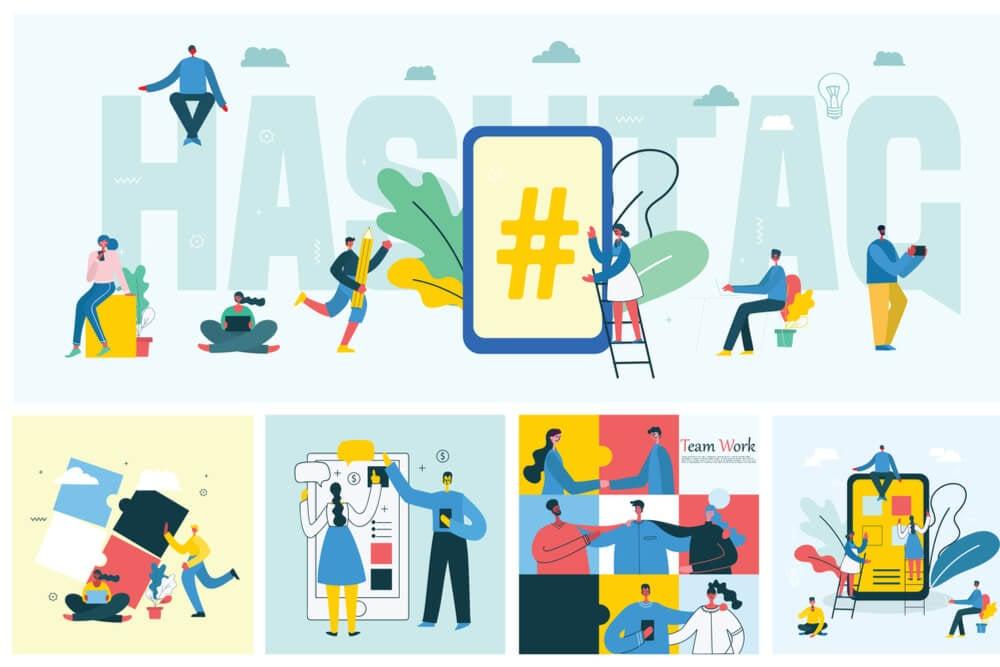 ilustraçao de hashtag com diversos bonecos representando trabalho em empresa