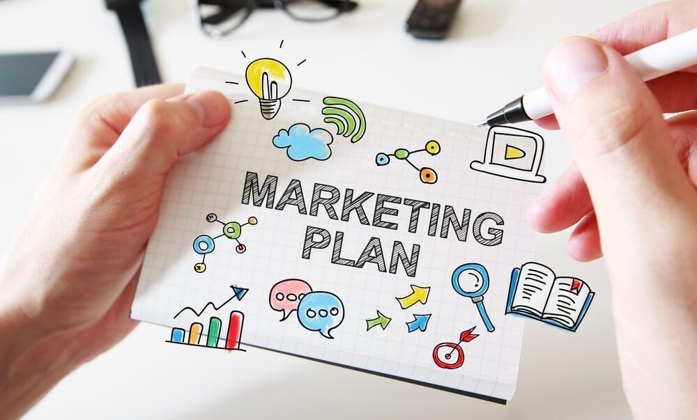 ilustração de título de símbolos relacionados ao plano de marketing nas empresas