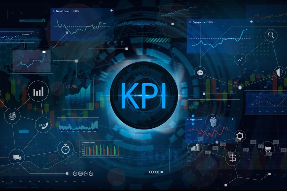 ilustraçao indicando a palavra KPI com simbolos relacionados ao redor
