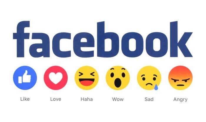 logo da rede social facebook e reações para publicações