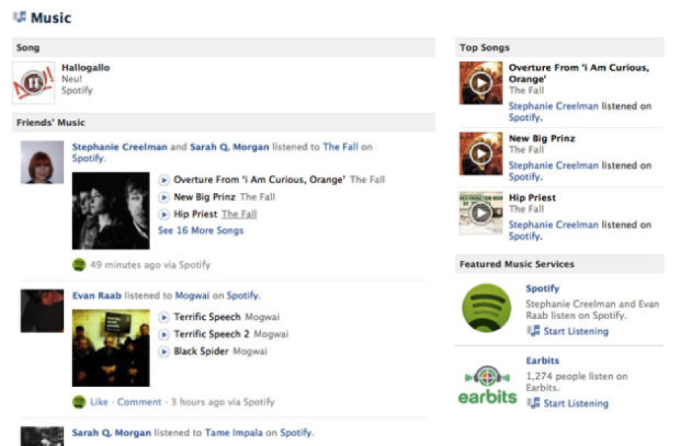 music spotify facebook integration growth hacking